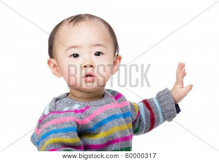 Asia baby boy hand up