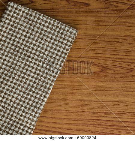 Kitchen Towel On Wood Background