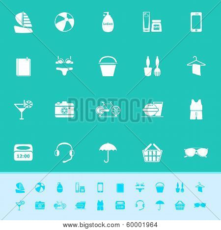 Beach Color Icons On Green Background