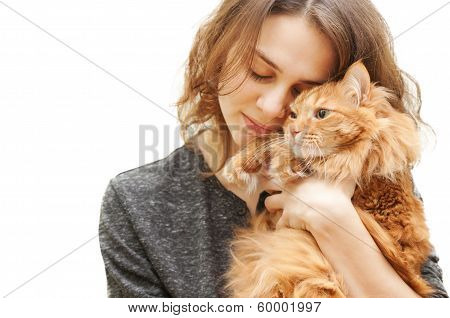 poster of beautiful young woman 20 years with a fluffy red cat isolated on white background