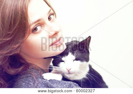 Beautiful Young Woman  With Monochrome Black And White Cat