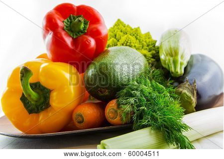 Fresh Colorful Vegetables Set On Table Isolated