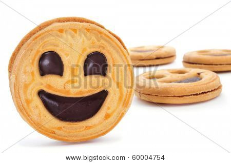 some smiley biscuits on a white background