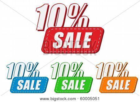 10 Percentages Sale, Four Colors Labels