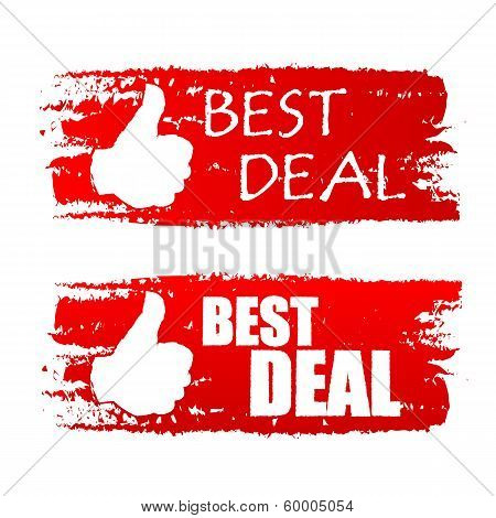 Best Deal With Thumb Up Sign, Red Drawn Labels