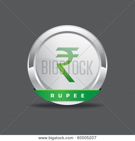 Indian Rupee Sign Vector Icon Button