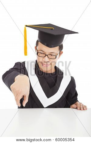 Happy  Graduating Student Focus His Fingers To Catch
