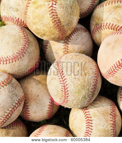 Closeup Of Pile Up A Stack Of Old Baseball
