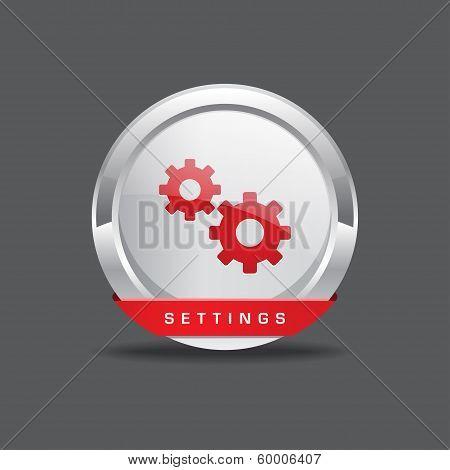 Settings Gear Circular Vector Icon Button