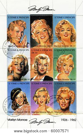 SAO TOME AND PRINCIPE - CIRCA 1995. A postage stamps printed by S.Tome and Principe shows image portrait of famous American actress, model and singer Marilyn Monroe (1926-1962), circa 1995