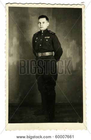 KURSK - CIRCA 1954: An antique photo shows studio portrait of a Red Army officer.
