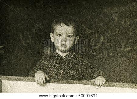 KURSK, USSR - CIRCA 1973: An antique photo shows portrait of a little boy