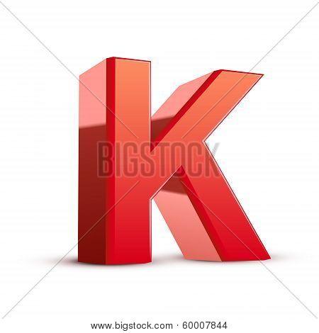 3D Red Letter K