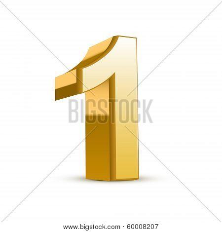 3D Shiny Golden Number 1