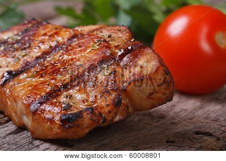 Juicy Piece Of Grilled Meat With Tomato