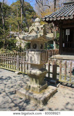 Japanese Traditional Stone Lantern In Kotokuin (great Buddha) Temple