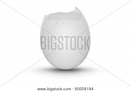 Cracked Egg On White Background With Shadow