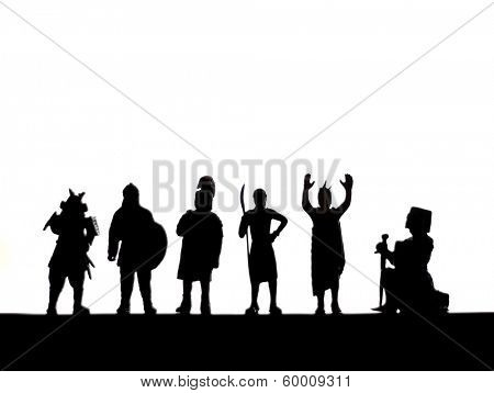 a silhouette of toy warriors on a clean background