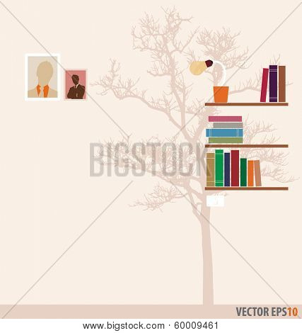 Bookshelf and tree wallpaper. Vector Illustration.