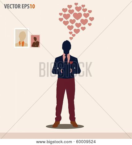 Businessman with cloud of heart. Vector illustration.