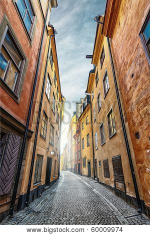 Colorful Alley With Cobblestone