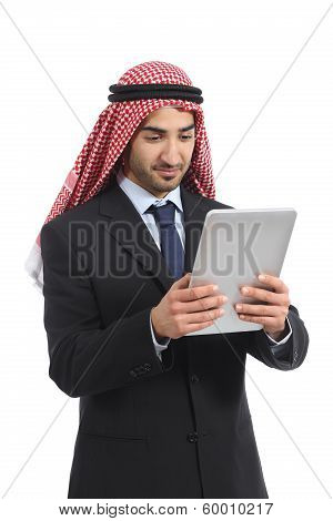 Arab Saudi Emirates Business Man Using A Tablet Reader