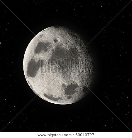 the moon in the black star sky