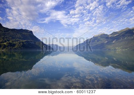reflection at the lake, Brienz, in Switzerland
