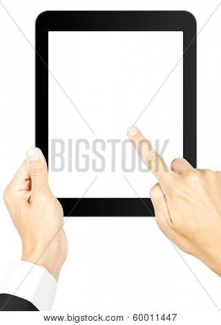 Man's holding a tablet