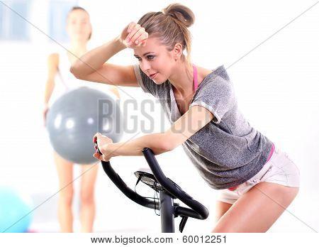 Training on exercise bike .