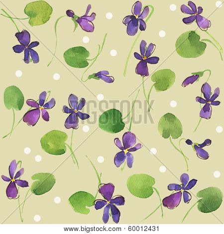 Watercolor seamless colorful violet flowers pattern