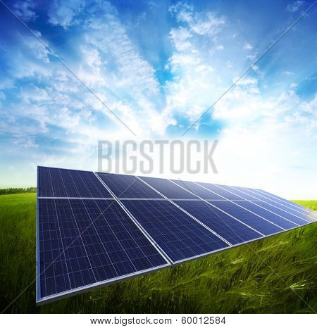 Solar panel in the green meadow