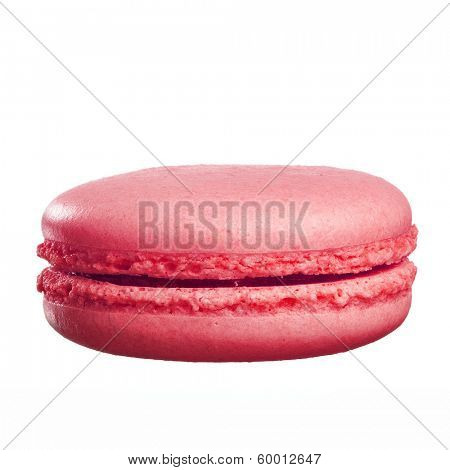 delicious fresh backed colorful macaroons are standing on top of each other. Isolated on white.