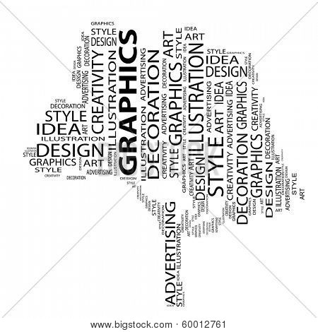 Conceptual black tree made of art and graphics text as wordcloud isolated on white background