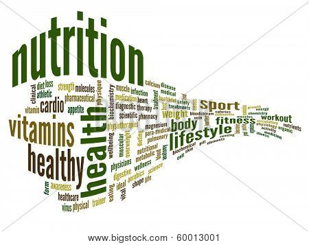 High resolution concept or conceptual abstract 3D nutrition and health word cloud or wordcloud on white background