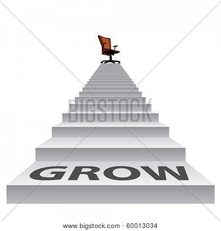 Concept conceptual 3d grow stair climbing to a leader,chief or promotion chair on top isolated white background