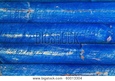 The Wall Wooden Planks Painted Blue