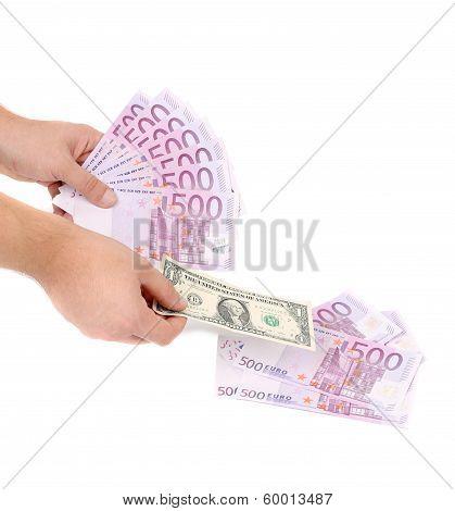 Five hundred bills in hand as fan.