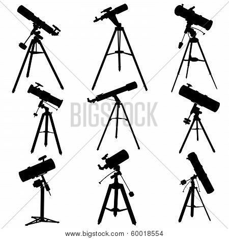 Vector Silhouettes Of Telescopes.