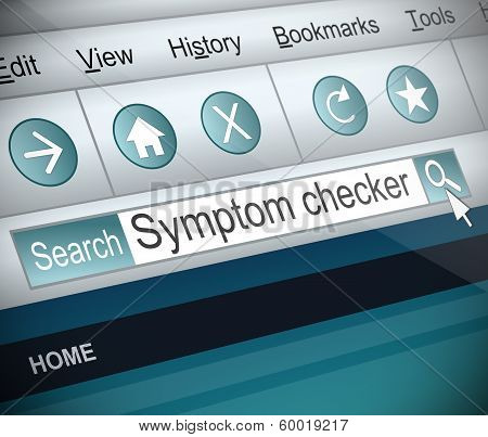 Illustration depicting a screenshot of an internet search with a symptom checker concept. poster
