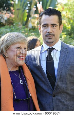 PALM SPRINGS, CA - JAN 5: Kay Ballard, Colin Farrell at the 10 Directors to Watch brunch at The Parker Hotel on January 5, 2014 in Palm Springs, California
