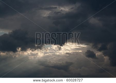 Light in thunderclouds