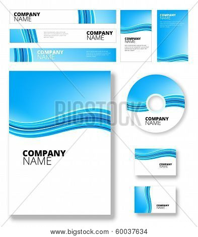 Vertical blue software package vector background with abstract waves poster