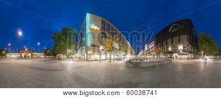 Train Station Plaza in Hannover. Panorama.