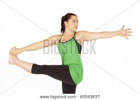 Female Yoga Instructor In Standing Twist Pose Parivrtta Hasta Padangusthasana 1