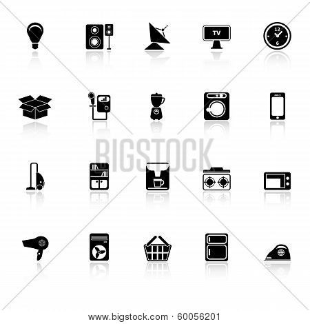 Home Related Icons With Reflect On White Background