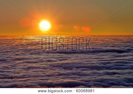 Mist Sea Of Fog Clouds And The Sun