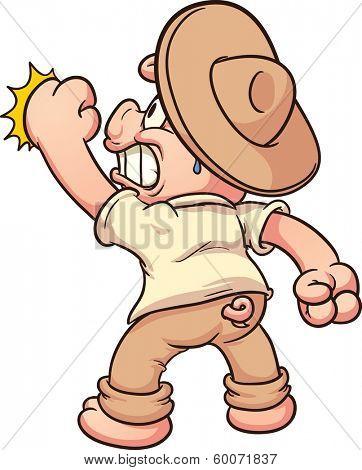 Cartoon pig knocking. Vector