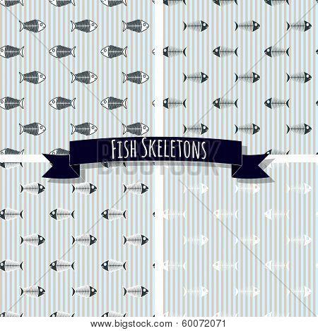 Set of Fish Skeleton Seamless Patterns