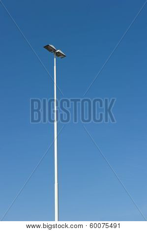 Lamppost At Parking Of Gasstation On Highway